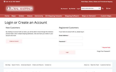 Screenshot of Login Page globalmapping.uk.com - Customer Login - captured Sept. 28, 2018