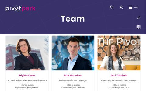 Screenshot of Team Page pivotpark.com - Team | Pivot Park - captured Oct. 21, 2018