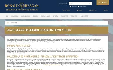 Screenshot of Privacy Page reaganfoundation.org - Ronald Reagan Presidential Foundation Privacy Policy | The Ronald Reagan Presidential Foundation & Institute - captured Nov. 17, 2016