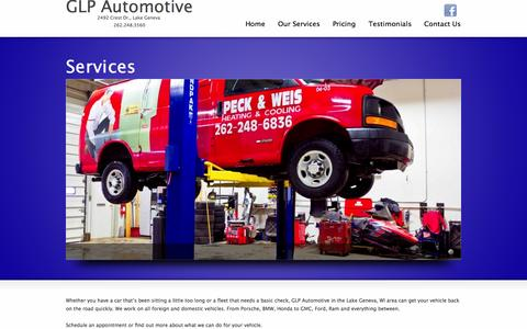 Screenshot of Services Page glpautomotive.com - Our Services | GLP AutomotiveGLP Automotive - captured Sept. 27, 2014