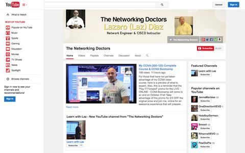 Screenshot of YouTube Page youtube.com - The Networking Doctors  - YouTube - captured Oct. 26, 2014