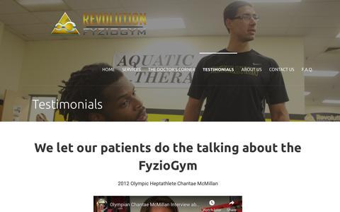 Screenshot of FAQ Page fyziogym.com - Testimonials – The FyzioGym - captured July 13, 2019