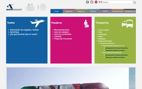 Screenshot of Home Page aicm.com.mx - Aeropuerto Internacional de la Ciudad de México - captured Oct. 18, 2018