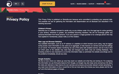 Screenshot of Privacy Page slotozilla.com - Privacy Policy   Slotozilla - captured May 29, 2018