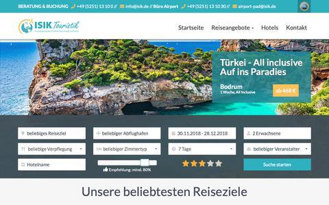 Screenshot of Home Page isik.de - Top Hotel, Pauschalreisen und billiger Flug | ISIK Touristik - captured Nov. 23, 2018