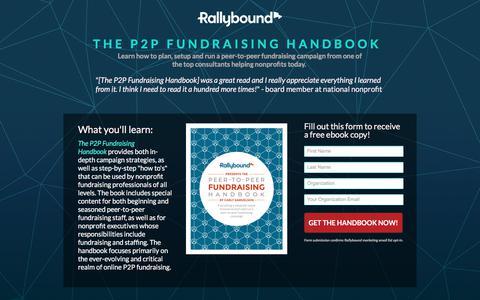 Screenshot of Landing Page rallybound.com - Peer-to-Peer Fundraising Handbook - captured March 27, 2018