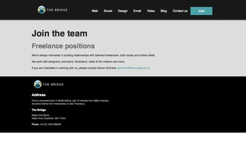 Screenshot of Jobs Page the-bridge.co.uk - The Bridge - Design and Marketing Agency - Milton Keynes - captured Oct. 26, 2014
