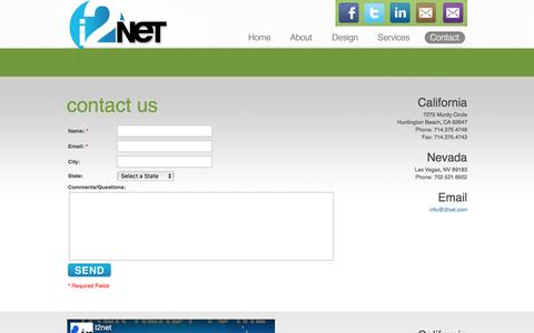 Screenshot of Contact Page i2net.com - i2net : Affordable Web Design: Custom Web Design: Ecommerce - captured Dec. 25, 2016