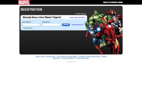 Screenshot of Login Page marvel.com - Marvel.com User Registration | Marvel.com - captured Nov. 19, 2015