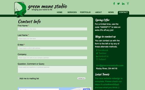Screenshot of Contact Page greenmanestudio.com - Contact Information - captured May 25, 2017
