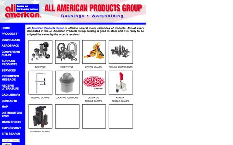 Screenshot of Products Page allamericanproducts.com - Drill Bushings, Workholding Solutions, Tooling Componants, Toggle Clamps - All American Products Group - captured Sept. 30, 2014