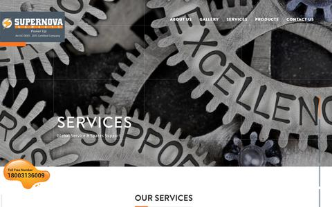 Screenshot of Services Page supernovagenset.com - Spare parts | Services of DG Set | Electric Generator Service | DG Installation services | DG Pre-installation services | Power Solutions - captured Oct. 1, 2018