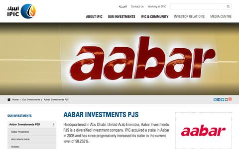 Screenshot of Home Page ipic.ae - Aabar Investments  PJS | Our Investments | IPIC - International Petroleum Investment Company - captured Oct. 9, 2015