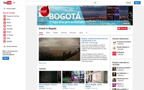 Screenshot of YouTube Page youtube.com - Invest in Bogota  - YouTube - captured Oct. 25, 2014