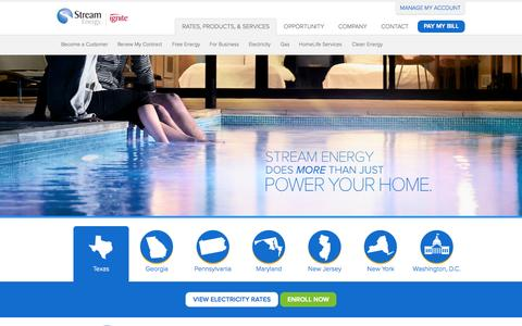 Screenshot of Services Page mystream.com - Rates, Products & Services | Stream Energy | Stream Energy - captured Sept. 19, 2014