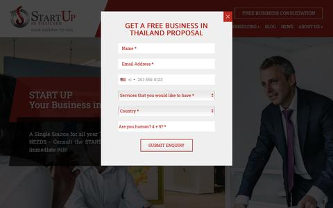 Screenshot of Home Page startupinthailand.com - Business Startup Consultant in Thailand | StartUp in Thailand - captured Oct. 2, 2018