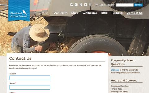 Screenshot of Contact Page bluebirdgrainfarms.com - Contact Us | Bluebird Grain Farms - captured June 2, 2017
