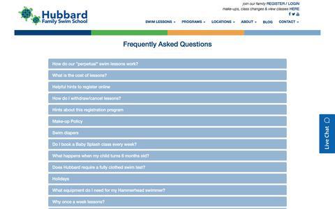 Screenshot of FAQ Page hubbardswim.com - Hubbard Family Swim School - captured Sept. 14, 2017
