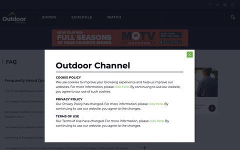 Screenshot of FAQ Page outdoorchannel.com - FAQ - Outdoor Channel - captured Nov. 12, 2018