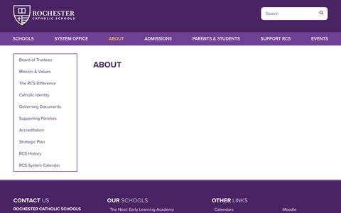 Screenshot of About Page rcsmn.org - About - Rochester Catholic Schools - captured July 1, 2018