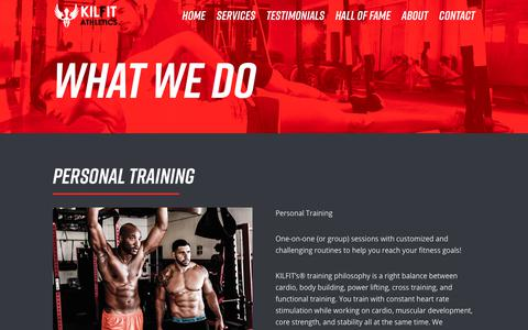 Screenshot of Services Page kilfit.com - Services | KILFIT Athletics Gym - captured Oct. 16, 2017