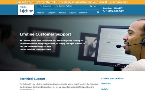 Screenshot of Support Page philips.com - Customer Service Support | Philips Lifeline ® - captured Sept. 28, 2018