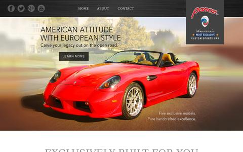 Screenshot of Home Page panoz.com - Home | Panoz - captured July 11, 2014