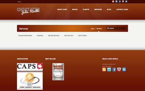 Screenshot of Services Page johnhindle.com - Services –  The Contact Hitter John Hindle - captured Oct. 1, 2014