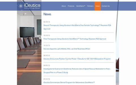 Screenshot of Press Page iceutica.com - News | iCeutica - captured Sept. 11, 2014