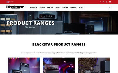 Screenshot of Products Page blackstarpotential.com - Blackstar Product Ranges  | Blackstar Amplification - captured Oct. 25, 2018