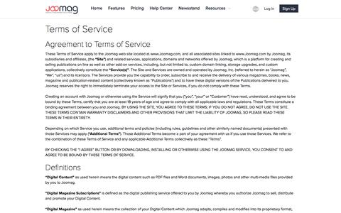 Screenshot of Terms Page joomag.com - Terms of Service - captured Oct. 26, 2016