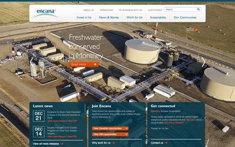 Screenshot of Home Page encana.com - Encana Corporation - captured Jan. 3, 2016