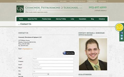 Screenshot of Contact Page gpsp.com - Contact the Hamden CT Attorneys at Gesmonde, Pietrosimone & Sgrignari - captured Oct. 1, 2014