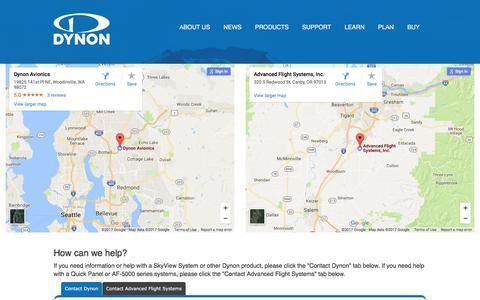 Screenshot of Contact Page dynonavionics.com - Dynon Avionics   Contact Dynon - captured June 5, 2017