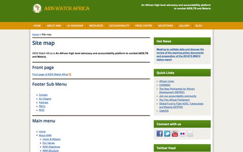 Screenshot of Site Map Page aidswatchafrica.org - Site map | AIDS Watch Africa - captured Sept. 30, 2014