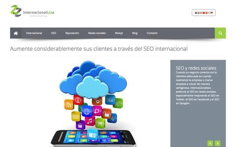 Screenshot of Home Page internacionalizza.com - SEO internacional | Optimización seo | Reputación corporativa - captured Sept. 30, 2014