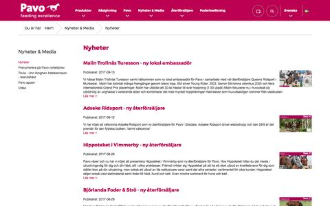 Screenshot of Press Page pavo.nu - Nyheter   Pavo - captured Oct. 9, 2017