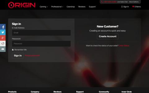 Screenshot of Login Page originpc.com - Login Portal for Existing, New, and Guest Accounts | ORIGIN PC - captured Sept. 19, 2014