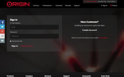 Screenshot of Login Page originpc.com - Login Portal for Existing, New, and Guest Accounts | ORIGIN PC - captured Sept. 19, 2014