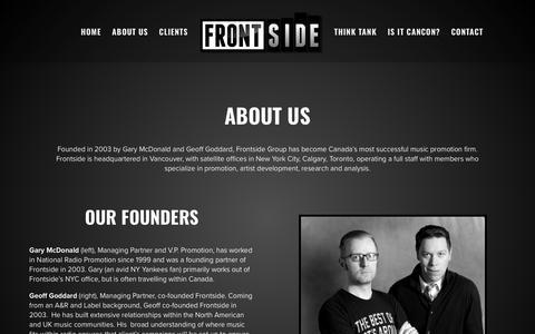 Screenshot of About Page frontsidegroup.com - ABOUT US - The Frontside Group - captured Oct. 11, 2018