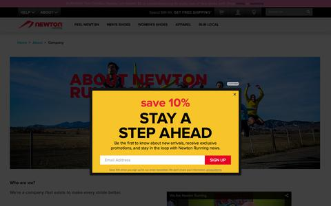 Screenshot of About Page newtonrunning.com - About: About Newton Running - captured Oct. 2, 2015