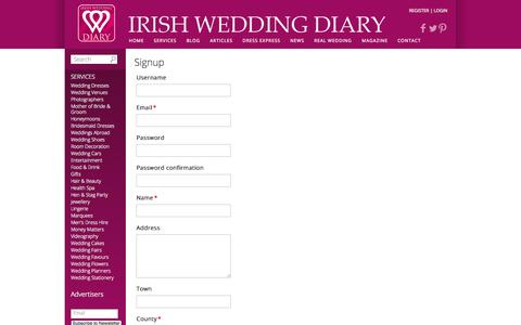 Screenshot of Signup Page irishweddingdiary.ie - Signup - captured Sept. 30, 2014