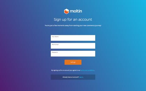 Screenshot of Signup Page moltin.com - moltin | Dashboard - captured Feb. 11, 2018