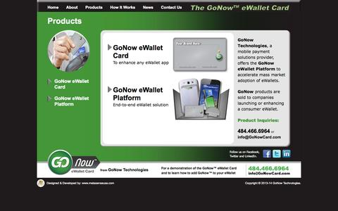 Screenshot of Products Page gonowcard.com - Welcome to Go Now eWallet Card  |  Bala Cynwyd  |  PA  |  Bellevue  |  WA - captured Sept. 30, 2014