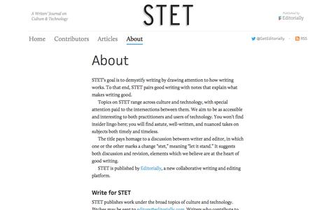 Screenshot of About Page editorially.com - STET | About - captured Sept. 9, 2016