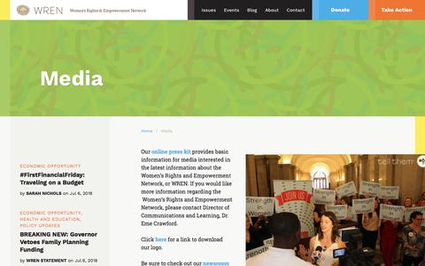 Screenshot of Press Page scwren.org - Media - Women's Rights and Empowerment Network - captured July 8, 2018