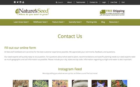 Screenshot of Contact Page naturesfinestseed.com - Contact Us | Nature's Seed - captured Nov. 13, 2016