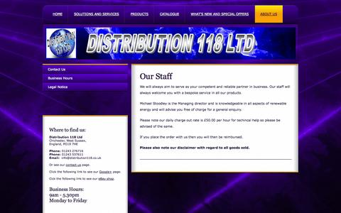 Screenshot of About Page distribution118.co.uk - Learn About Distribution 118 Ltd - captured Oct. 5, 2014