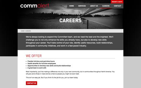 Screenshot of Jobs Page commalert.com - Careers | CommAlert - captured July 20, 2018