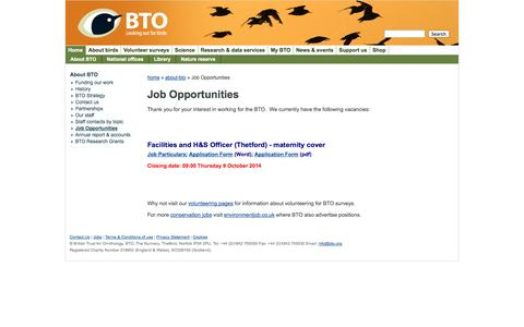 Screenshot of Jobs Page bto.org - Job Opportunities | BTO - British Trust for Ornithology - captured Oct. 5, 2014
